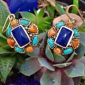 New Barse Lapis, Turquoise & Coral Earrings